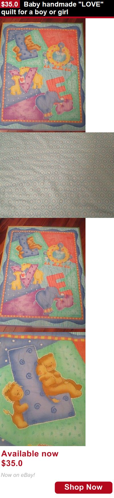 Quilts And Coverlets: Baby Handmade Love Quilt For A Boy Or Girl BUY IT NOW ONLY: $35.0