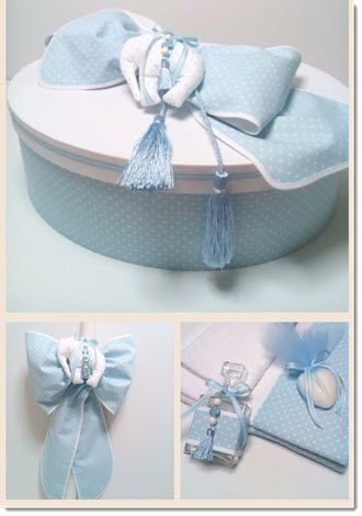 Christening Set - Round Size - 44x20 cm  Blue/White polka dot fabric base with plain white  lid - Cotton Fabrics  .
