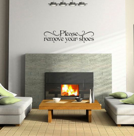 Please remove your shoes embellishment sign living room for Room decor embellishment art