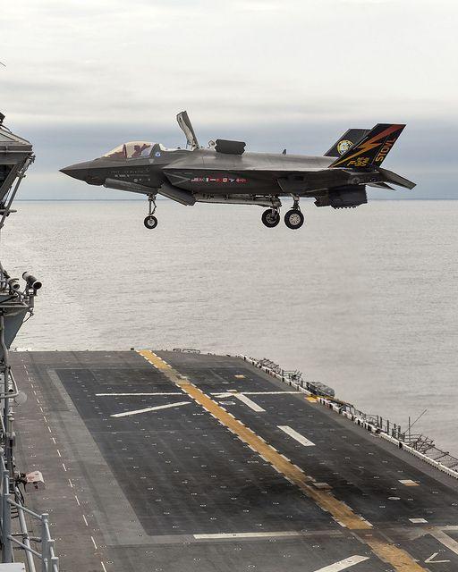 F-35B Vertical Landing at Sea by Lockheed Martin