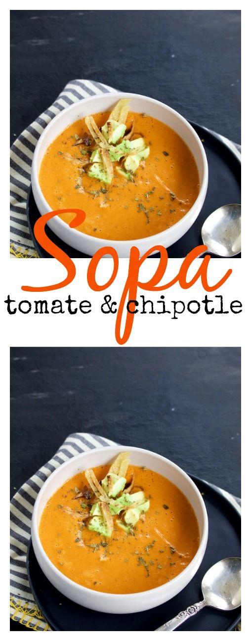 Receta de sopa de tomate y chipotle