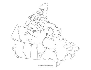 This printable map of the continent of Canada is blank and can be used in classrooms, business settings, and elsewhere to track travels or for other purposes. It is oriented horizontally. Free to download and print