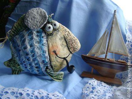 По морям,по волнам. - голубой,морская тема,синий,тельняшка,рыбка,рыба
