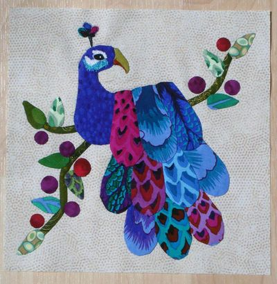 Peacock Applique block - free pattern download at Lemon Tree Tales
