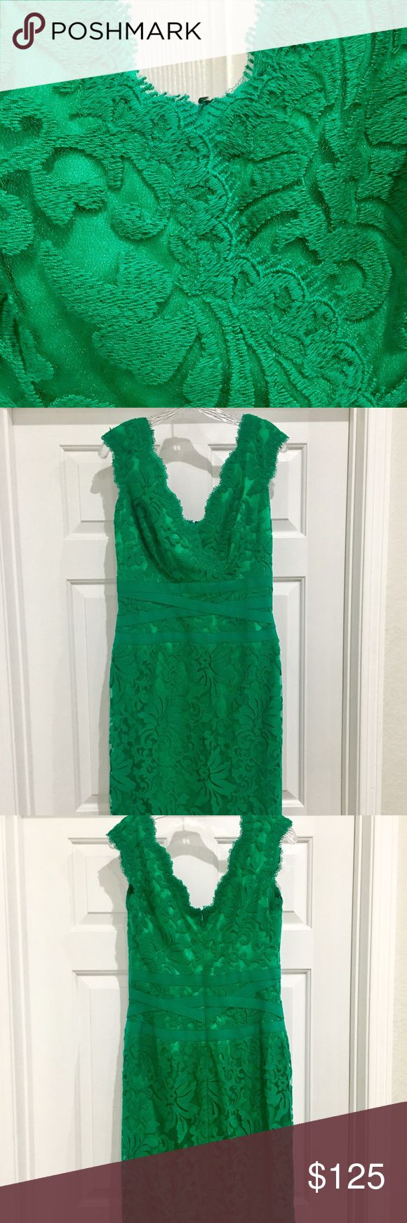 Tadashi Shoji Embroidered Lace Sheath Dress Size 8 Like new! Only worn once. Beautiful green color, flattering fit, hits most people below the knee. I originally bought this item for $240 at Nordstrom. Tadashi Shoji Dresses