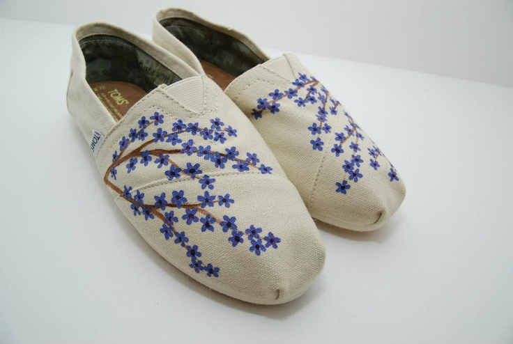 Blue cherry blossom painted TOMS shoes
