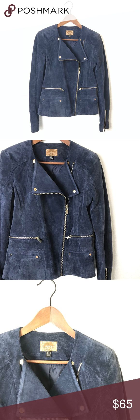 """MNG Blue Leather Suede Moto Jacket MNG Blue Leather Suede Moto Jacket. 23"""" long. 18"""" across the chest. Genuine Leather. Fitted style. Gold zippers and studs. Lined. Gently worn and in great condition. Only signs of wear are on gold Snap that's a little scratched. Size S. Mango Jackets & Coats"""