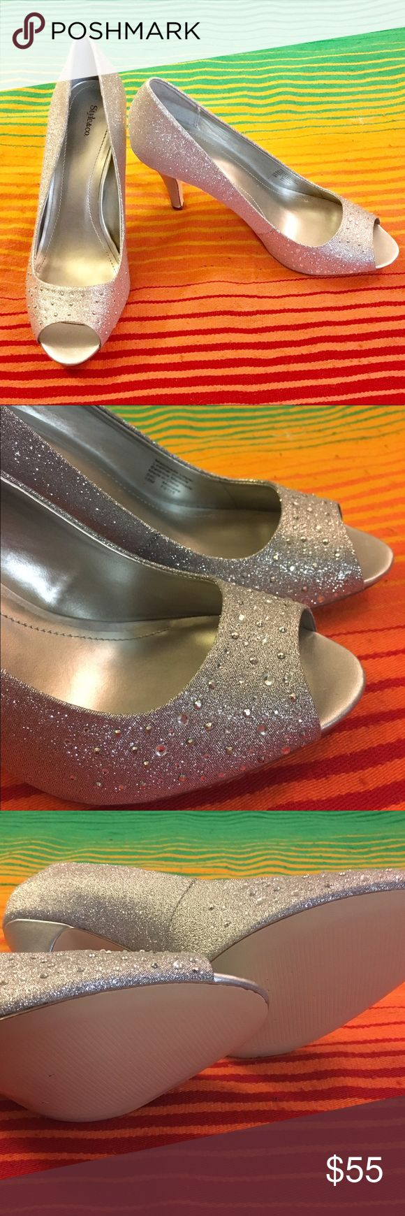 NWOT Silver sparkly pumps, size 10 NWOT Style & Co. Silver sparkly Monaee style pumps, size 10. Never worn. Bought to wear to my wedding and decided on something else. Gorgeous pumps with 3.5 inch heel and sparkly/jewel design. Perfect for a wedding, prom, or a fun night out on the town. Style & Co Shoes Heels