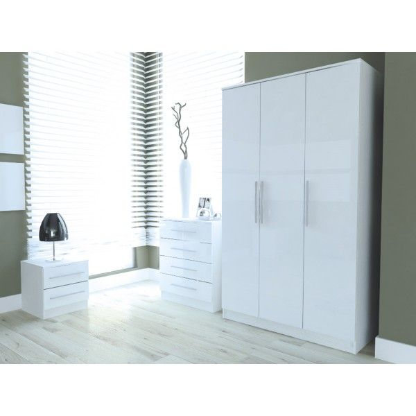 Toronto Caspian Black Or White High Gloss Bedroom Furniture Complete 3 Piece Set Or Seperate 3 Door Wardrobe 4 Drawer Chest Bedside Cabinet Gloss White