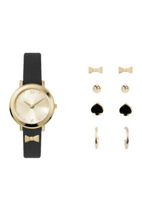 Jessica Carlyle Women's Gold-Tone Black Bow Watch And Earrings Set - Black - One Size