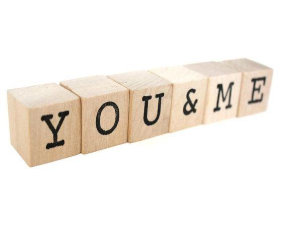 Voi e Me Custom blocchi di legno / lettera a voi di TheLonelyHeart