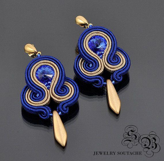 Soutache Earrings Navy blue  Gold by SBjewerlySoutache on Etsy