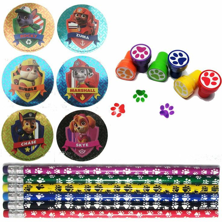 This Paw Patrol Party Favor Set For 12 Has 84 Stickers Pencils And Stampers Making Good To Go The Mom