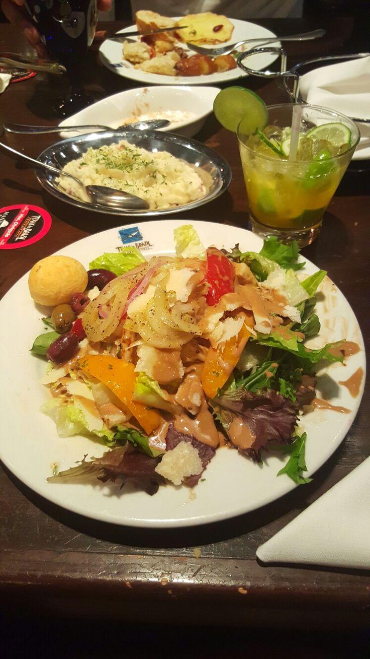 Brazilian buffet, bar salad and lime Caipirinha