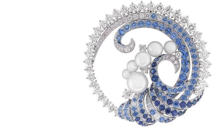 VAN CLEEF AND ARPELS Seven Seas Collection - Mer de Vent Brooch; Sapphires, Diam...