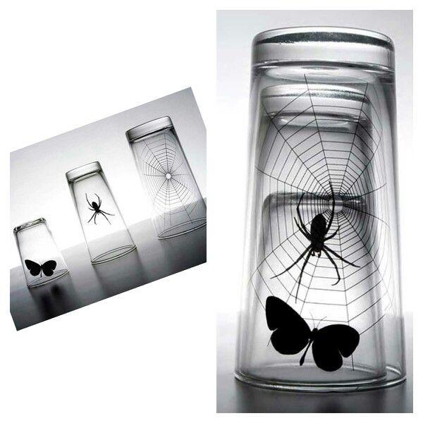 La araña caza a la mariposa :), set de 3 vasos #menaje #hogar #decoracion