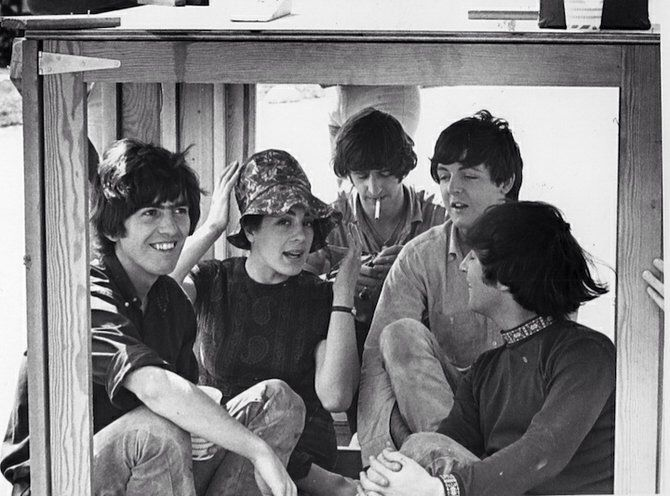 The Beatles and Eleanor Bron during the filming of Help!, the Bahamas, 1965
