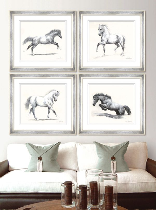 Meridith Martens Horses - This set of eight pen and ink studies of horses in motion is by the North Carolina artist Meridith Martens. These fine art limited edition reproduction giclee prints are individually signed by the artist, numbered and embossed with the Trowbridge stamp.