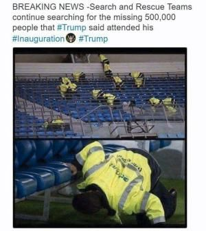 The best memes, tweets and jokes about Donald Trump's presidential inauguration.: Searching For Those Missing People