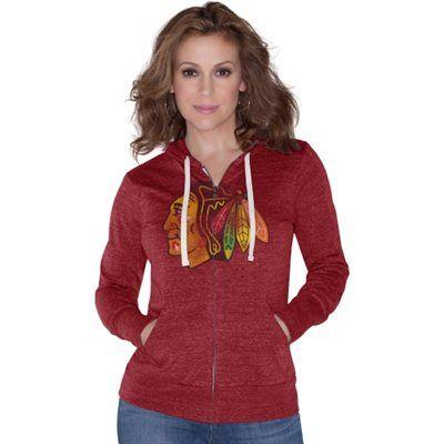 Touch by Alyssa Milano Chicago Blackhawks Ladies Nubby Tri-Blend Full Zip Hoodie - Red