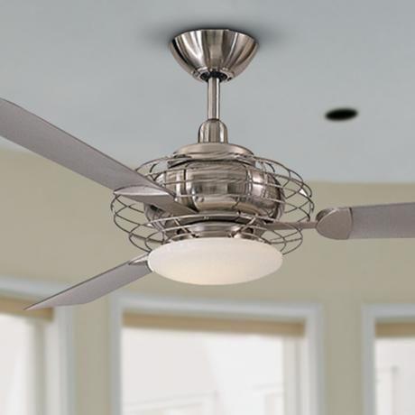"Great Room/Family Room - 52"" Minka Aire Acero Steel and Nickel Ceiling Fan | LampsPlus.com"