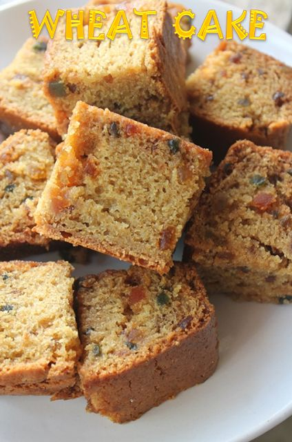 Easy Atta Cake Recipe - Eggless Whole Wheat Tutti Frutti Cake Recipe