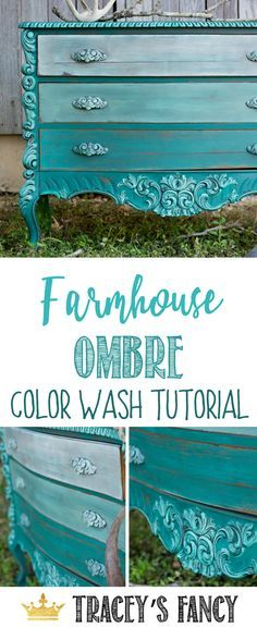 Learn this gorgeous Farmhouse Ombre Color Wash with Tracey's Fancy | How to Paint Furniture | Painting Tutorial | Furniture Painting Ideas | Painted Furniture Ideas | Dresser Makeover | Gradient Painting