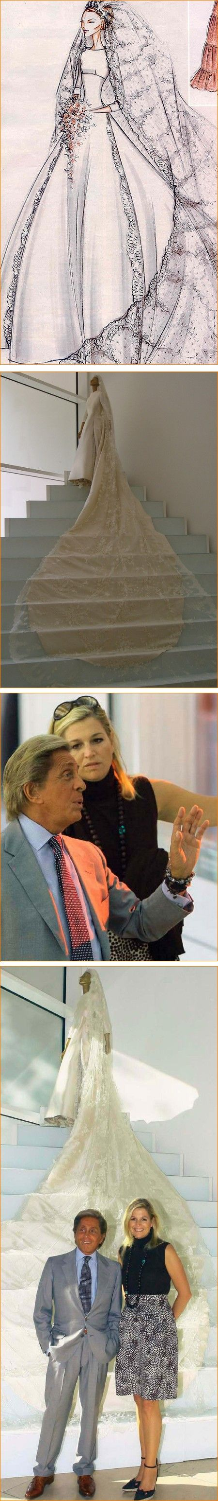 Valentino was the designer for then Princess (now Queen ) Maxima of Netherlands.. The details of the gown is extensive and you can not get in all the details in 1 pin... Maxima married Prince (now King ) Willem - Alexander on 2-2-02.. Not only did he designer her dress but he also designed Princess Madeleine of Sweden wedding gown who married in June of 2013.. Another gorgeous gown to his credit.