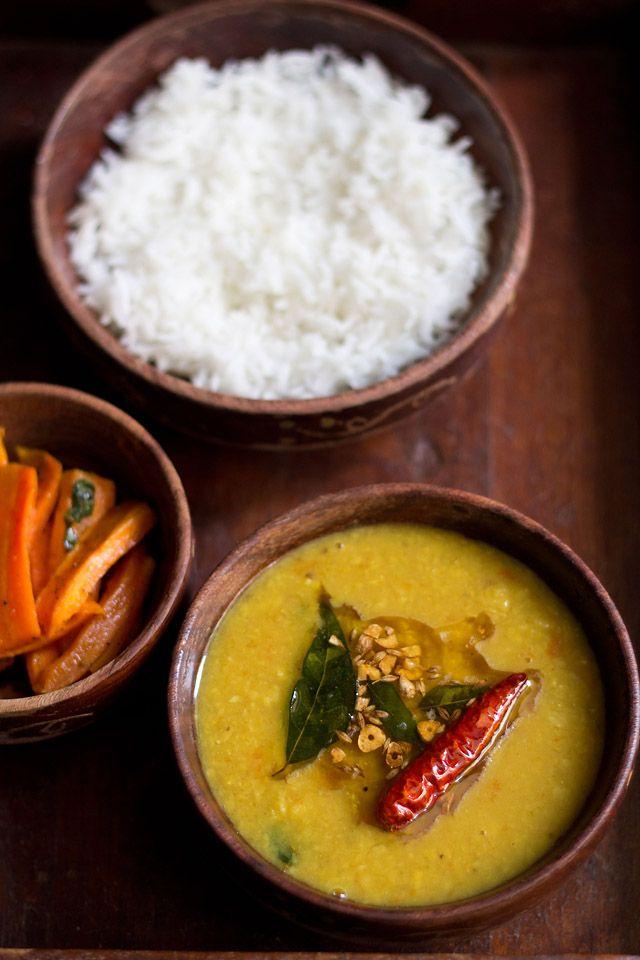 khatti dal from hyderabadi cuisine – sour lentil soup made from split pigeon pea or arhar dal.  #dal #lentil