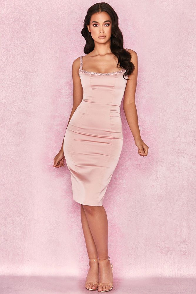 ee3a4a57e87e House of CB 'Camilla' Pink Satin Dress with Hand Sewn Crystals XS 6 / 8 MA  415 #fashion #clothing #shoes #accessories #womensclothing #dresses (ebay  link)