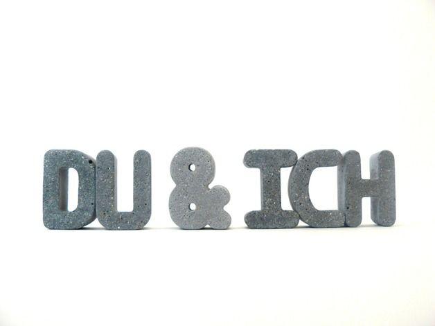Buchstaben & Schriftzüge - Beton-Buchstaben *DU&ICH* ♥für immer :-) - ein Designerstück von Betongedoens bei DaWanda