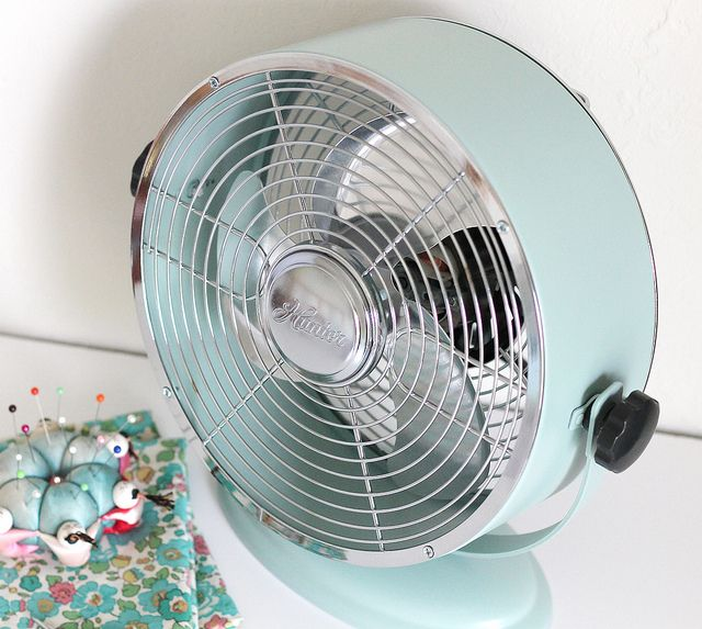 Hunter fan from Target/ spray painted with my favorite Krylon color - Catalina Mist.