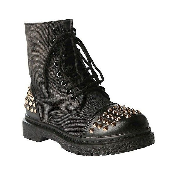 Women's Gia-Mia Rock Star Studded Combat Boot - Black ($45) ❤ liked on Polyvore featuring shoes, boots, black, military boots, black combat booties, star boots, black shoes and combat boots