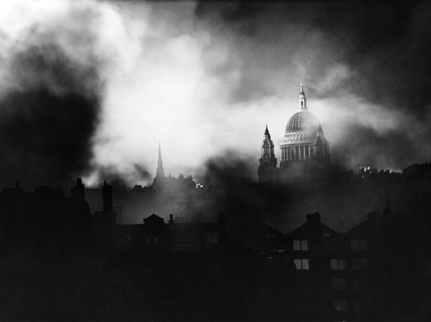 This photo was taken during the Blitz on London. St Paul's Cathedral is seen through the flames and smoke of blazing buildings. One of my favourite photographs of all time.