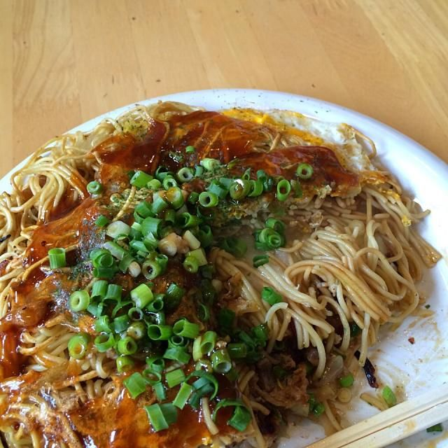 #hiroshima #japon - 46件のもぐもぐ - 野菜肉卵そばダブル もち、イカ天トッピング by maixx ใหม่