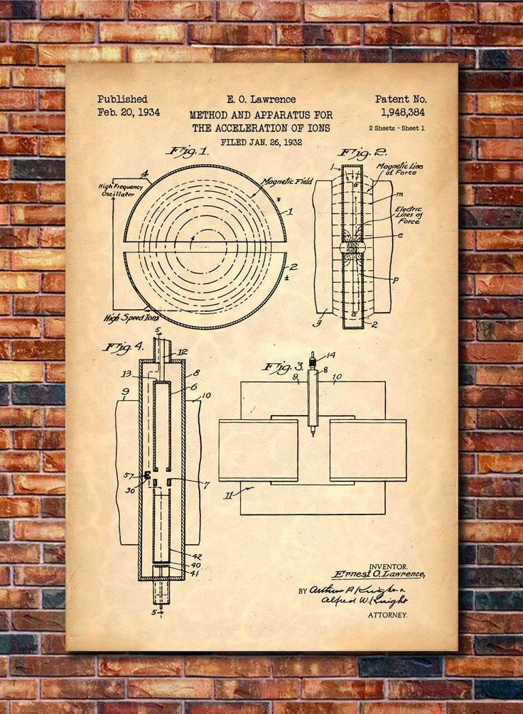 Cyclotron Production Patent Print Art 1934 by CatkumaPatentPress
