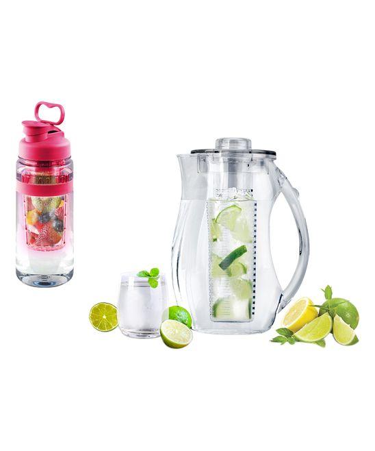 Pink Fruit-Infuser 32-Oz. Water Bottle & 2.5-L Pitcher