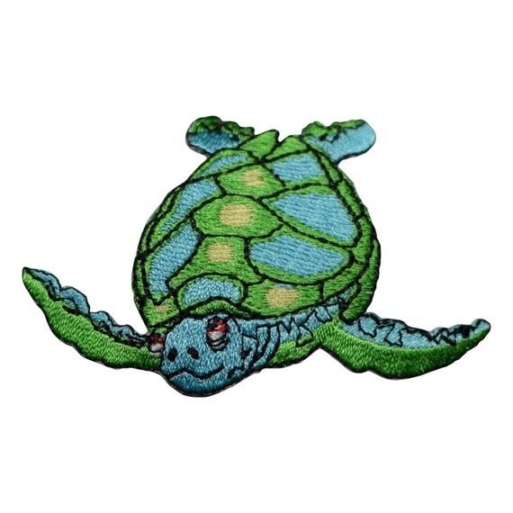 "Sea Turtle Applique Patch Sea Creature Badge 2-5//8/"" Iron on Ocean"