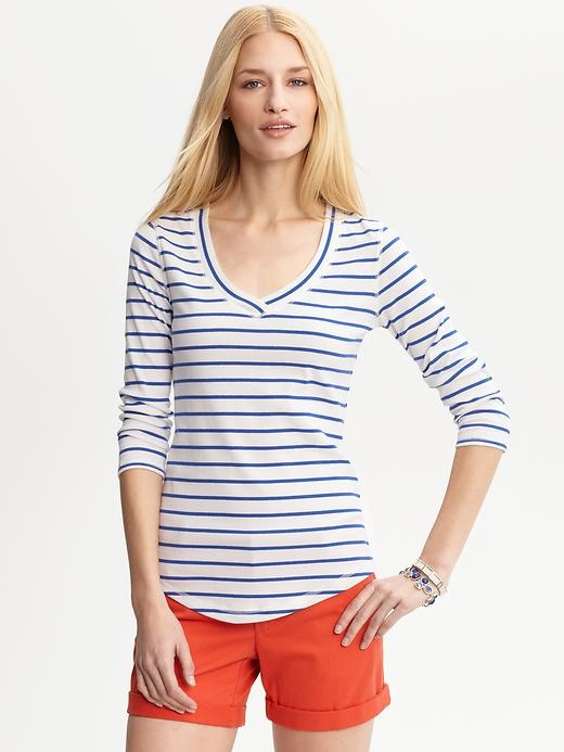 Stripe Banded V Neck Tee / Banana Republic