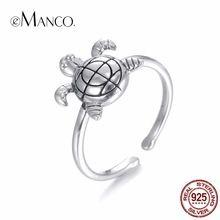 EManco Vrouwen 925 Zilveren-Kleur Kleine Schildpad Vorm Opening Ring Leuke Dier Natuurlijke Ring 2017 Nieuwkomers Sieraden Accessoires(China (Mainland))