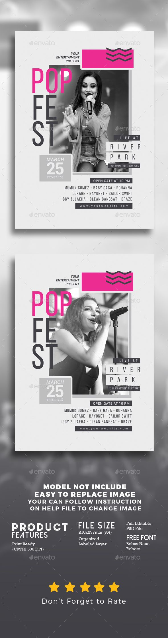 Pop Music Festival Flyer Template PSD