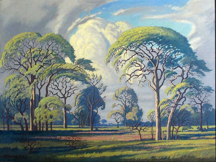 Jacobus Hendrik Pierneef (1886 - 1957) was born in Pretoria on 13 August 1886, the year Johannesburg was founded.   During the Anglo-Boer war, the family left for the Netherlands, where he came into contact with the paintings of the old masters. During 1900, Pierneef studied drawing under an architect at Hilversum. He worked part time in a paint factory, attending night classes in drawing. In 1901 he studied at Rotterdamse Kusakademie.