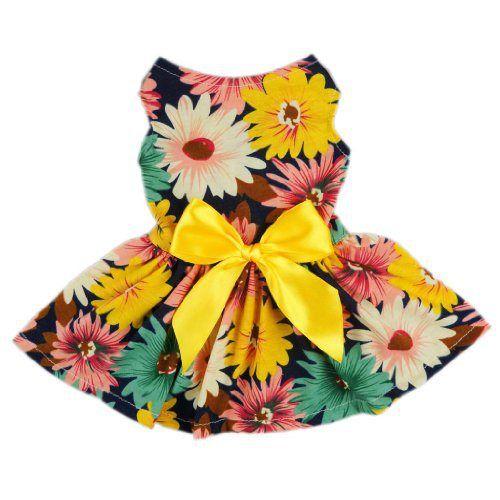 Fitwarm® Pet Elegant Floral Ribbon Dog Dress Shirt Vest Sundress Clothes Apparel, Medium - http://www.thepuppy.org/fitwarm-pet-elegant-floral-ribbon-dog-dress-shirt-vest-sundress-clothes-apparel-medium/