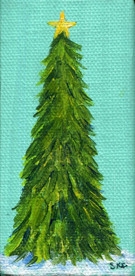 Christmas Tree Painting Tree in Snow  Mini by SharonFosterArt