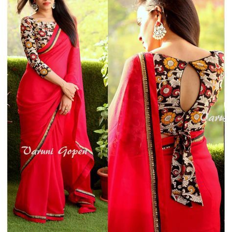 Gorgeous red partywear saree with fancy blouse