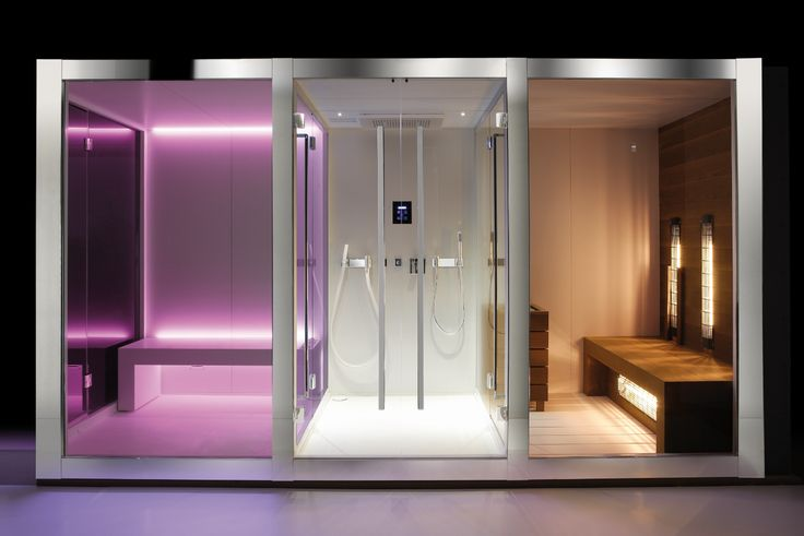 DREAM Modular by Carmenta. Three cabins full glasses joint together for a truly elegant design thanks to the external frames in mirror stainless steel. sauna - steam bath - Shower - Kneipp - IR Sauna