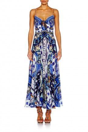 RHYTHM & BLUES LONG DRESS W/ TIE FRONT $639