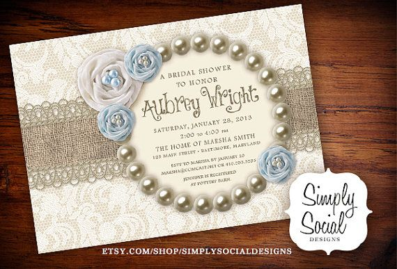 Rustic Chic Burlap, Lace and Pearls Bridal Shower Invitation Something Old, Something New, Something Borrowed, Something Blue
