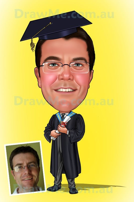 Graduation caricature from DrawMe.com.au.  Awesome quality.  All hand drawn from your photo. Any theme, any body, any background