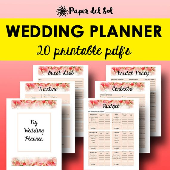 The Wedding Planner Kit Designed for your wedding binder! Organize all of your information with this beautiful designed Peony Watercolor themed planner. Have all of your information stored in one easy place. https://www.etsy.com/listing/266217018/wedding-planner-printable-for-planning